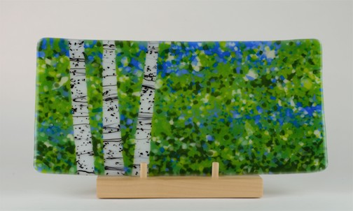 Birch Platter, fused glass, by Nancy Seaton.