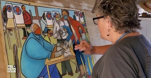 Duluth painter Carolyn Olson is one of the artists featured on the Newshour's