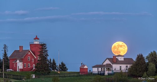 The Strawberry Full Moon over Two Harbors by Donald Jay Olson.
