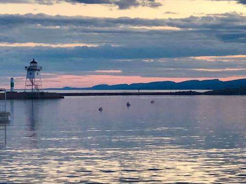 Sawtooth Mountains and the Grand Marais Harbor by Jim McGowan.