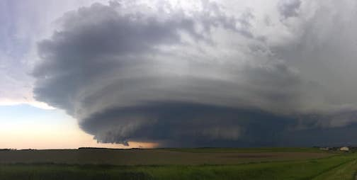 Just east of Arnold, Neb., June 8. Mesocyclone cloud kicked out several twisters by Layne Kennedy.