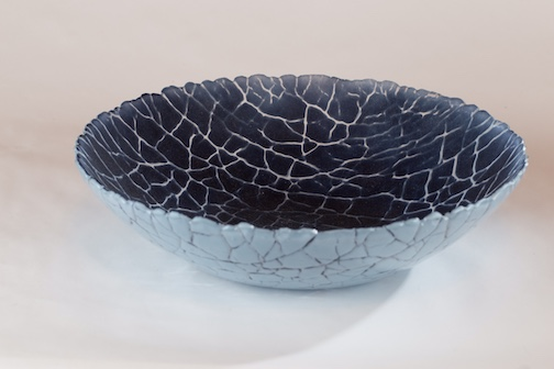 Fused glass bowl by Melissa Grover.
