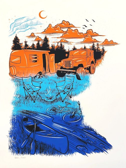 Adam Turman restock at the Big Lake. Pictured: his print, MN Camping.