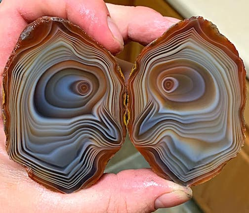 Lake Superior Agate. What do you see first, the two ducks or the owl? by Tyler James.