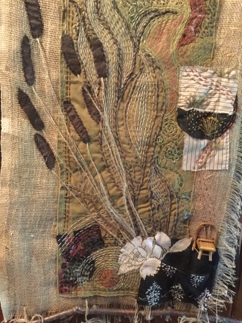 "A detail of Vicki Biggs-Anderson's ""Slow-Stitch,"" a piece celebrating the farm where she lives."