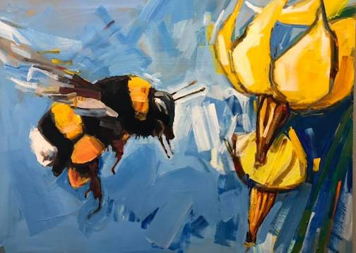 Honey Bee, one of the paintings of endangered species by Adam Swanson is on view at the Great Lakes Aquarium through Aug. 31.