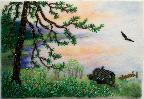 """Camp,"" bead painting by Jo Wood."