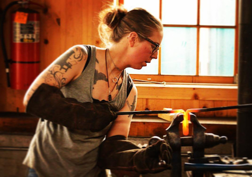 Elizabeth Belz will demonstrate blacksmithing and metal working at North House Folk School from 10 a.m to 4 p.m. Thursday through Sunday.