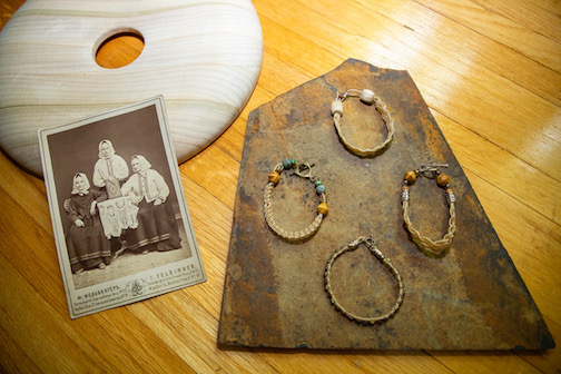 Examples of Swedish traditional hair work jewelry.