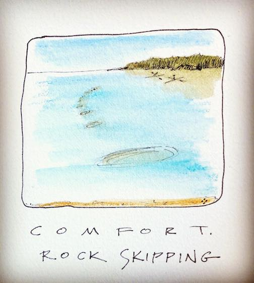 One of Betsy Bowen's Comfort paintings. Comfort: Rock Skipping.