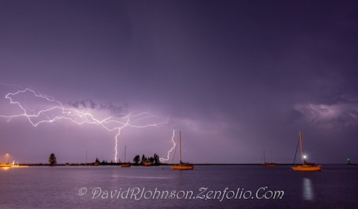 Light show in Grand Marais last night by David Johnson.