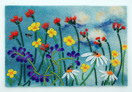 Wildflowers, bead painting by Jo Wood. jowoodbeads.com