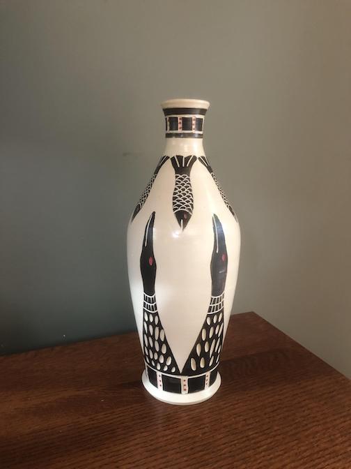 Porcelain vace by Lutsen raku artist Maggie Anderson.