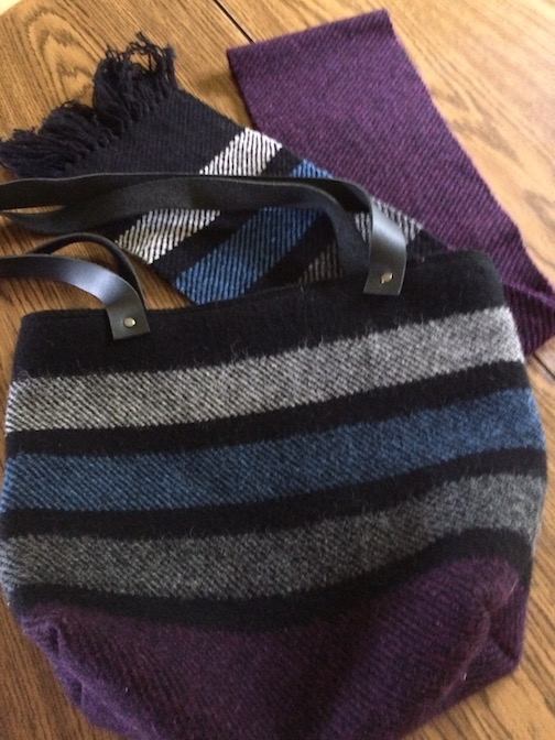 Woven handbag with matching woven scarf by Mary McDonald.