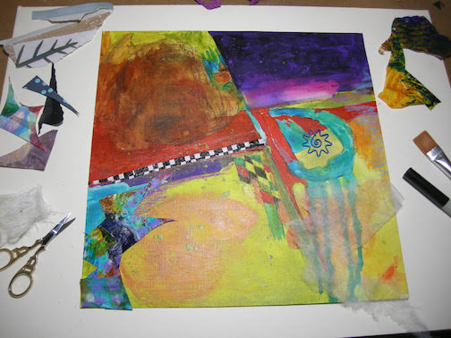 Abstract collage painting in process by Maxine Linehan.