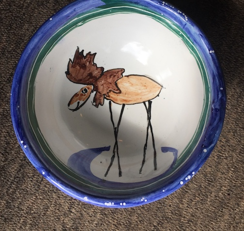 """Charlie,"" a moose rattle bowl by Joan Farnam."