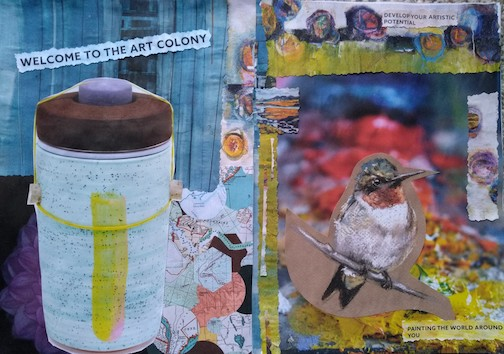 """Upcycled"" collage by Nancy Haarmeyer."