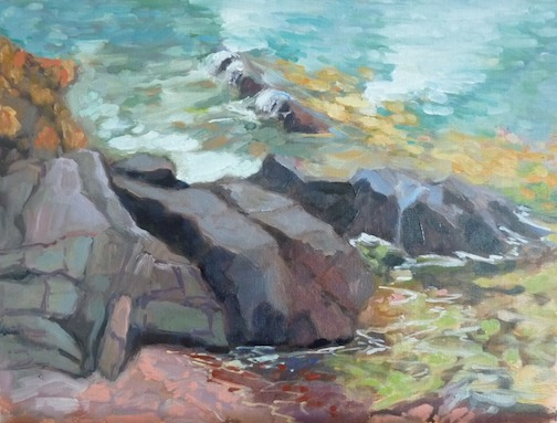 It's all about rocks and water, at least for now. Painting by Paula Gustafson.