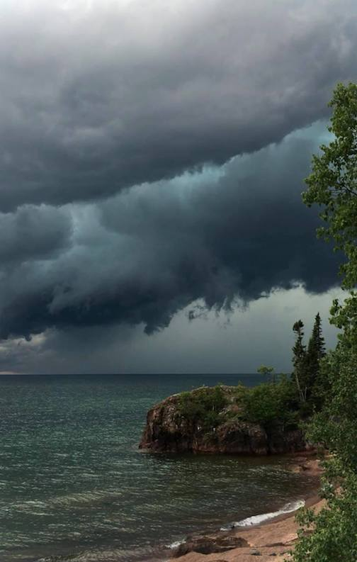 Lake Superior storm by Roxann Berglund.