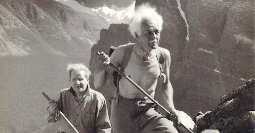 Lawren Harris hiking shirtless in the Rockies. Phot courtesy of the Estate of Lawren Harris.