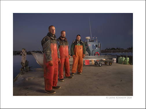 North Superior Fishery is supplying freeh-caught Lake Superior fish to venues around town. The fishermen include, (from left) Tyler Smith, Zack Smith and Eric Brisson. Photograph by Layne Kenned