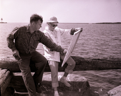 Bernie Quick and student on the harbor in Grand Marais 1948. Photograph courtesy of the Cook County Historical Society.