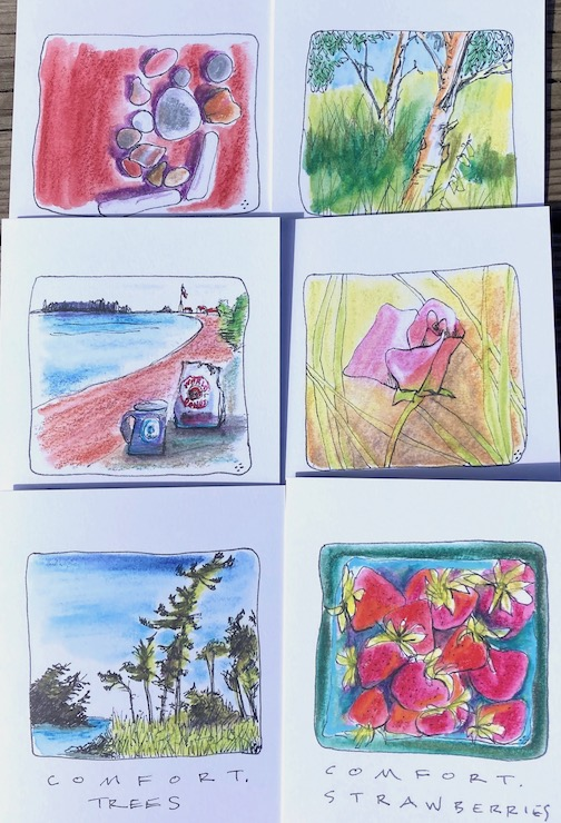 Betsy Bowen has crafted a new pack of Comfort Cards. They are available at the Betsy Bowen Gallery, 301 1st Ave. W.