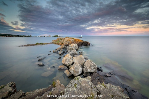 Looking east over Grand Marais Harbor by Bryan Hansel.