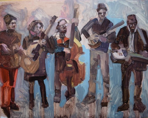 The Plucked Up String Band will be the kick-off band at Unplugged this year. Painting of the band by Liz Sivertson.