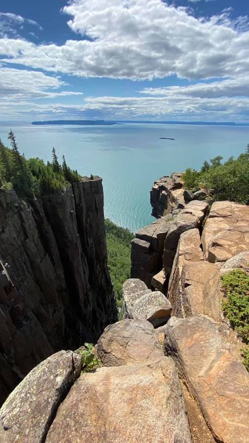Looking out from the torge on top of the Sleeping Giant in Thunder Bay, Ontario by Juan Anderson.