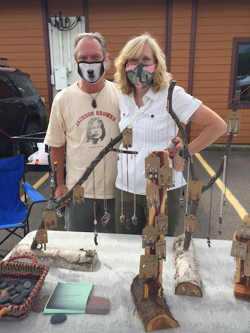 Masked and ready. The Lamonts sell their h handmade jewelry at the Cook County Market, which is held in The Hub parking from from 9 a.m. to 1 p.m. on Saturday.