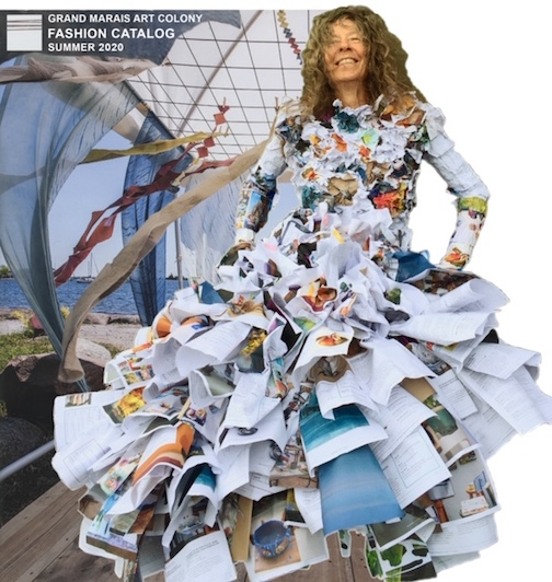 Maryl Skinner came up with this idea for her piece: a skirt made from the catalogs. She called it the Grand Marais Art Colony's Fashion Summer Catalog.