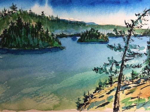 Bluebird Day. Watercolor. By Tom McCann.