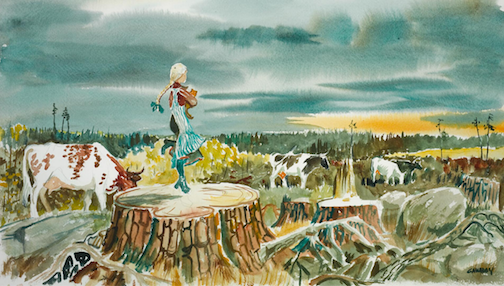 """Hemi (Gawboy's mother) Skipping on a Stump 1912."" Watercolor by Carl Gawboy."