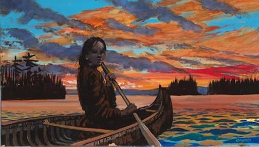 "Slipping Away into the West,"" acrylic, by Carl Gawboy."