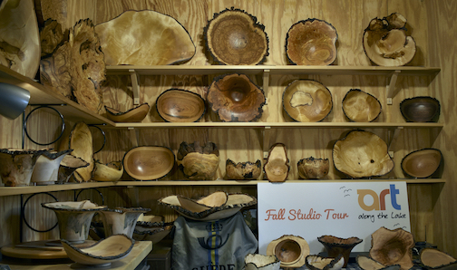 Lou Pignolet has completed work for the Fall Studio Tour. This display is in his studio in Hovland.