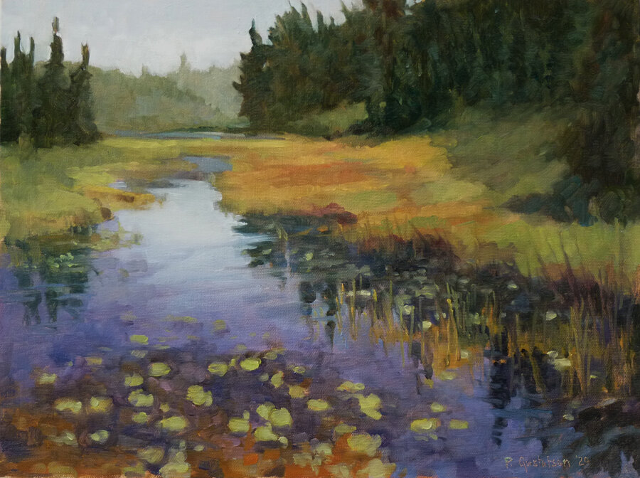 Cascade Off the Grade by Paula Gustafson, one of the painters participating in Grand Marais Plein Air this year.