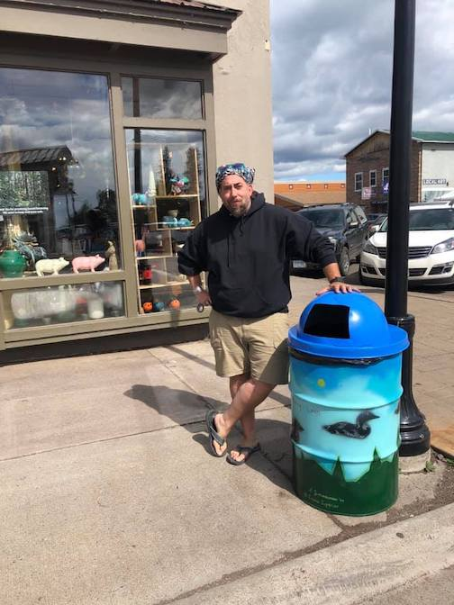 Sam Zimmerman has painted more trash barrels for Grand Marais. Look for them around town!