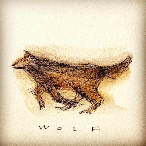 "Betsy Bowen continues her letter ""W"" series with Wolf. ""Keep watch, Little Red Riding Hood,"" she writes."