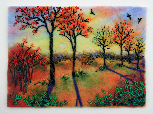 Autumn Fire, bead painting by Jo Wood.