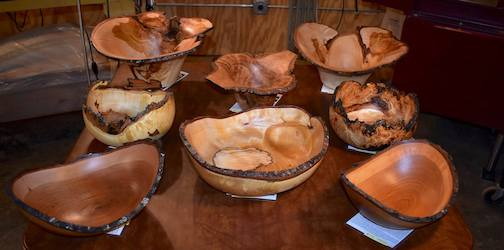 A selection of wood-turned bowls by Lou Pignolet.