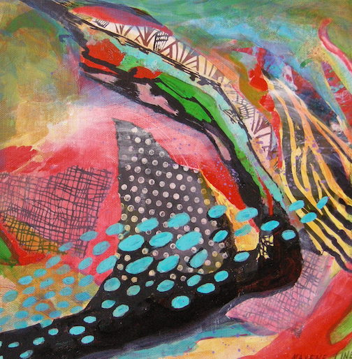 """""""Teal ovals in their natural environment,""""collage,  by Maxene Linehan. Her work can be seen at Betsy Bowen's Studio Gallery during the Fall Studio Tour."""