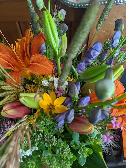 Flower arrangement by Monica Anderson.