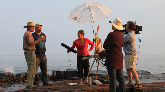 The WDSE film crew interview Scott Lloyd Anderson and Neil Sherman for the Plein Air Brush Off, which won an regional Emmy in 2011.