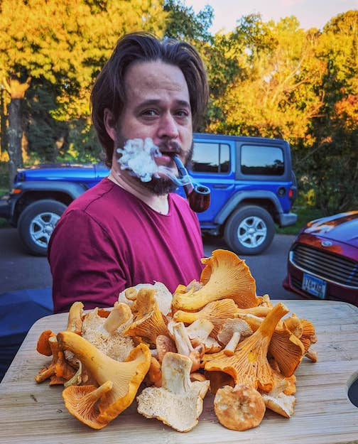 This guy's first mushroom hunt resulted in our first-ever bounty of hedgehogs, plus plenty of chanterelles by Tina Hegg Raway.