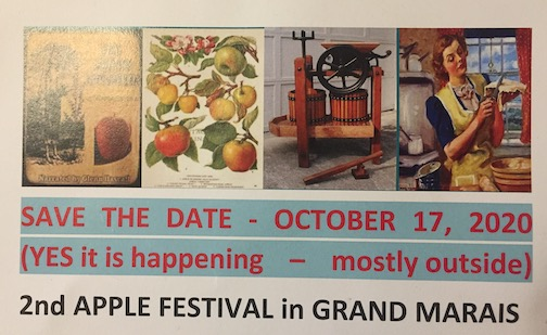 The 2nd annual Grand Marais Apple Festival will be held on Saturday, Oct. 17 and includes apple farm tours and picking, apple cider-making,  presentations and more. Open to all. Click here for more information.
