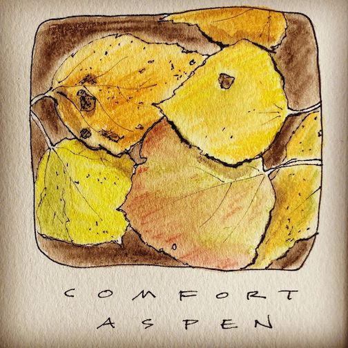 Comfort. The aspen leaves cover the road like a mosaic. On schedule. By Betsy Bowen.