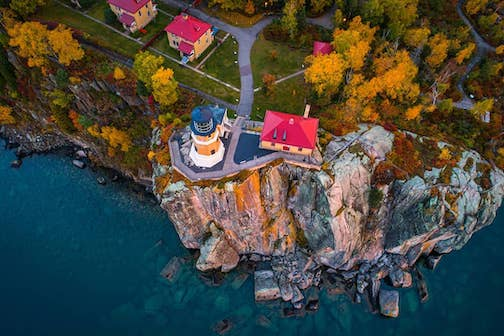 Split Rock Lighthouse-- from a drone by Christian Dalbec.
