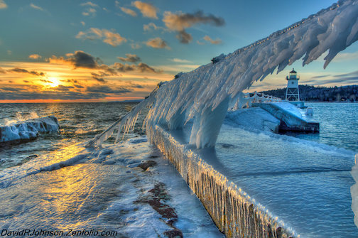 Icy Blue Sunset by David Johnson is one of the photographs on exhibit at the Johnson Heritage Post this month.