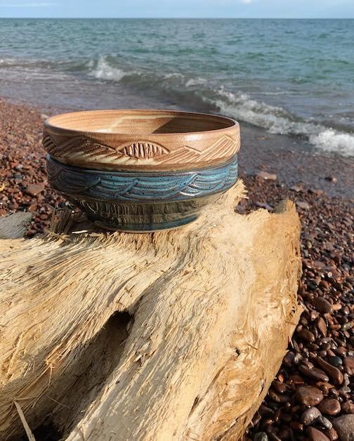 Plate bowls by Hannah Palma Laky.